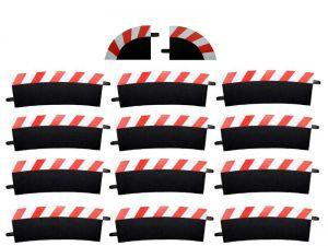 Carrera Außenrandstreifen für Kurve 4/15° rot/weiss, 12 Stück
