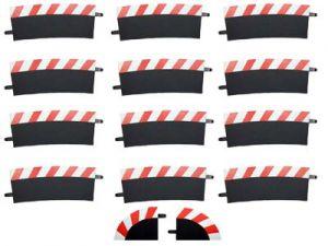 Carrera Außenrandstreifen Steilkurve 4/15° rot/weis, 12 Stück