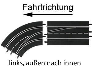 Carrera Digital 124/132 Spurwechselkurve links, außen nach innen