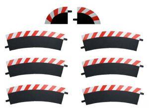 Carrera Außenrandstreifen für Kurve 2/30° rot/weiss, 6 Stück