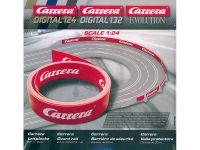 2016: Carrera D124/D132/EVO Leitplanke rot mit Carrera Schriftzug als Meterware oder 20m Rolle