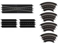 Carrera D124/D132/EVO AUSBAUSET: mit Spurwechseln oder Engstelle, Geraden und 4 Kurven 1/60°